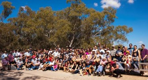 About 130 descendants of George and Amelia Field at the Amelia Field Bridge on Back Yamma road celebrating 150 years of settlement in Parkes